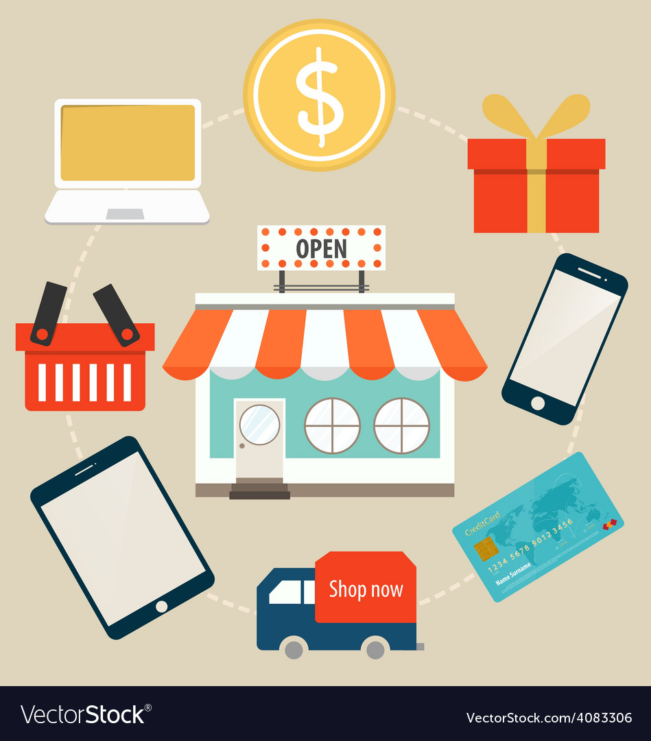 E-commerce ideas with online store vector