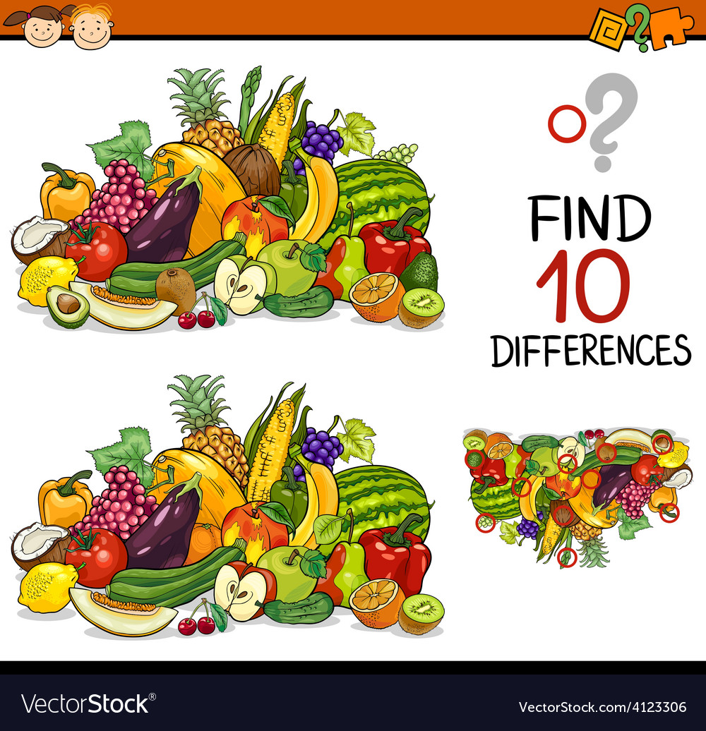 Finding differences game cartoon vector | Price: 3 Credit (USD $3)