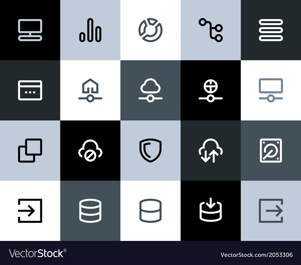 Hosting and wireless network icons flat vector | Price: 1 Credit (USD $1)