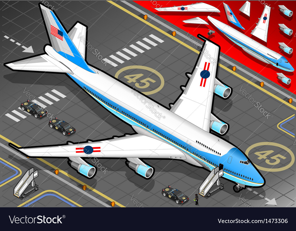 Isometric air force one in front view vector | Price: 1 Credit (USD $1)