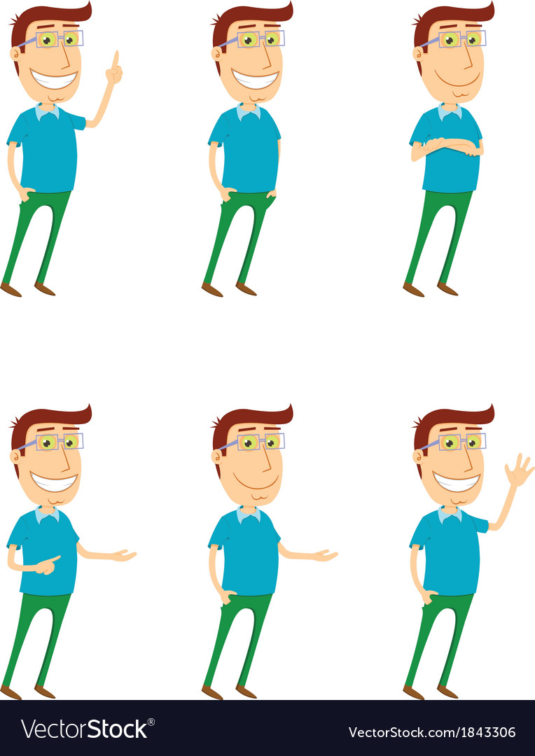 Standing man with various poses vector | Price: 1 Credit (USD $1)