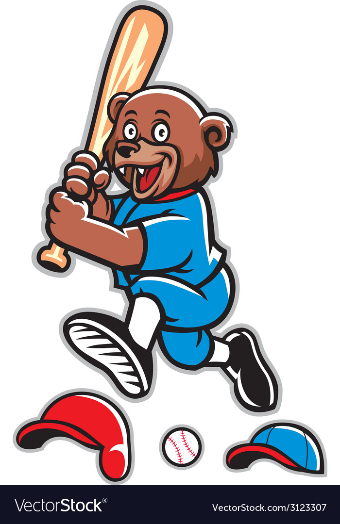 Baseball bear mascot vector | Price: 1 Credit (USD $1)