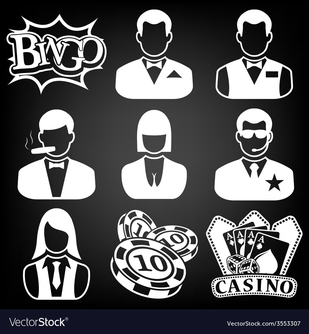 Black casino icons set vector | Price: 1 Credit (USD $1)