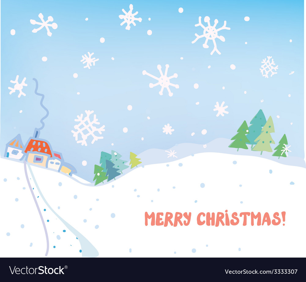 Christmas card with village houses forest and snow vector | Price: 1 Credit (USD $1)