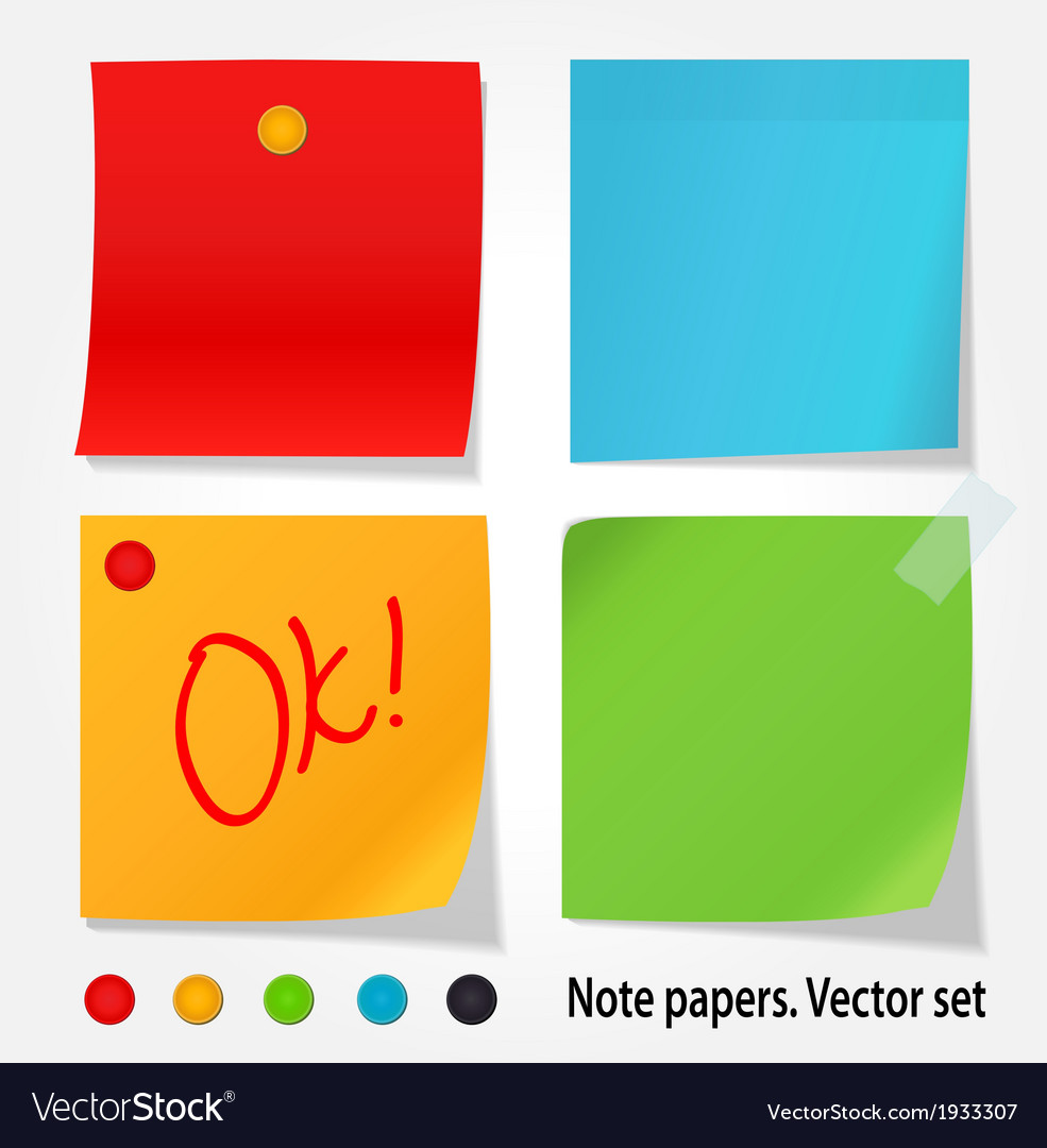 Colored note papers set vector | Price: 1 Credit (USD $1)