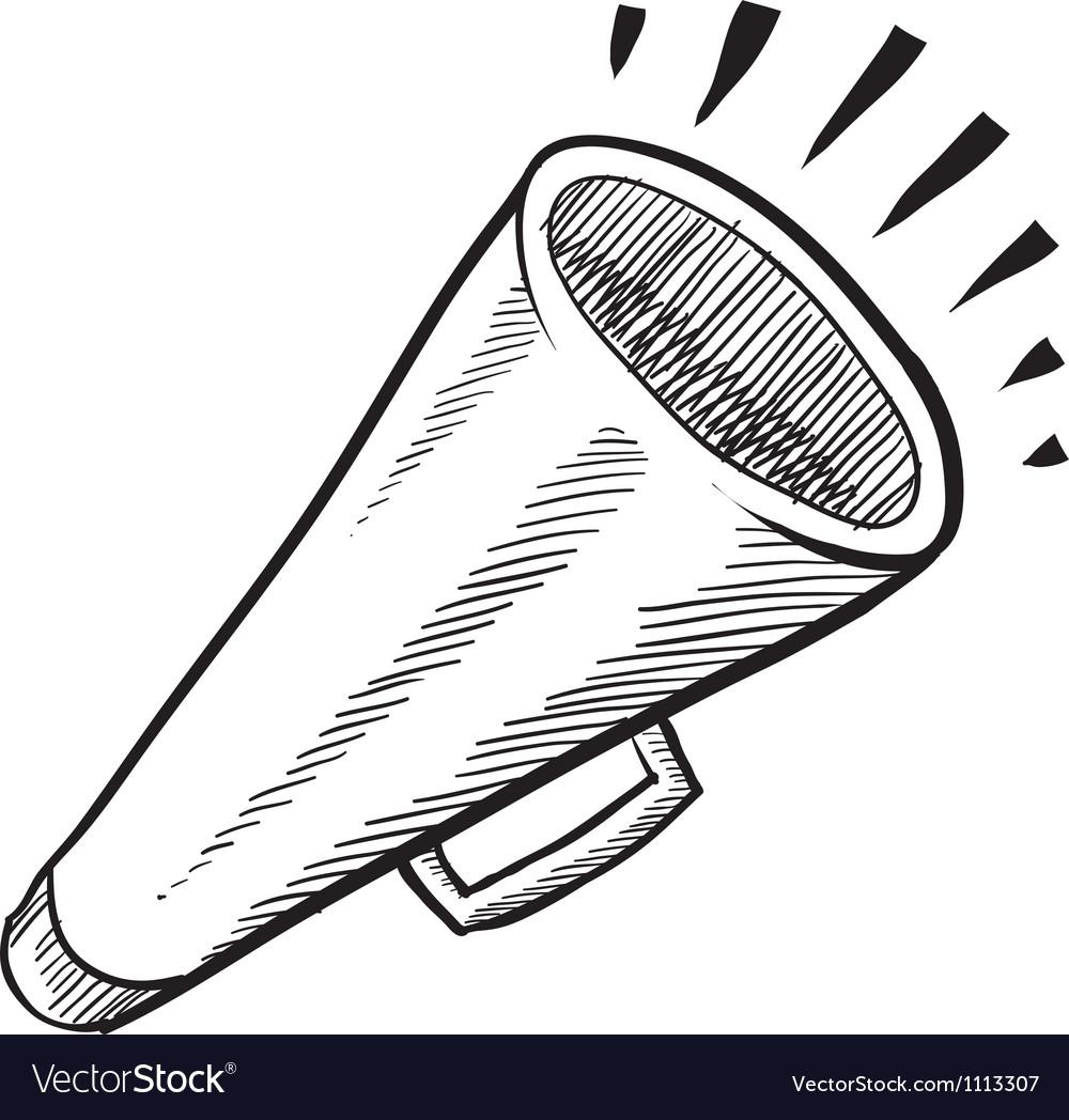 Doodle megaphone cone loud vector | Price: 1 Credit (USD $1)
