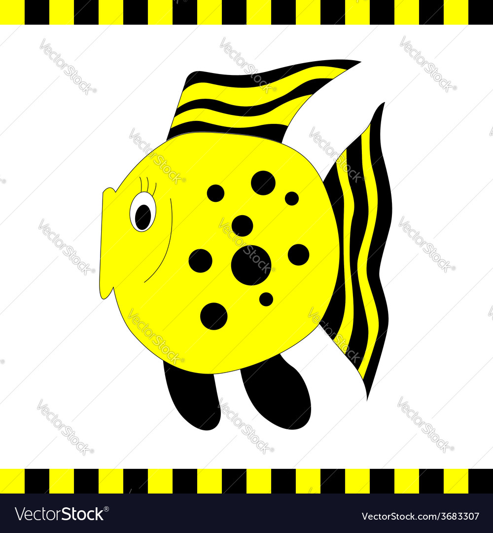 Funny orange fish with black stripes vector | Price: 1 Credit (USD $1)