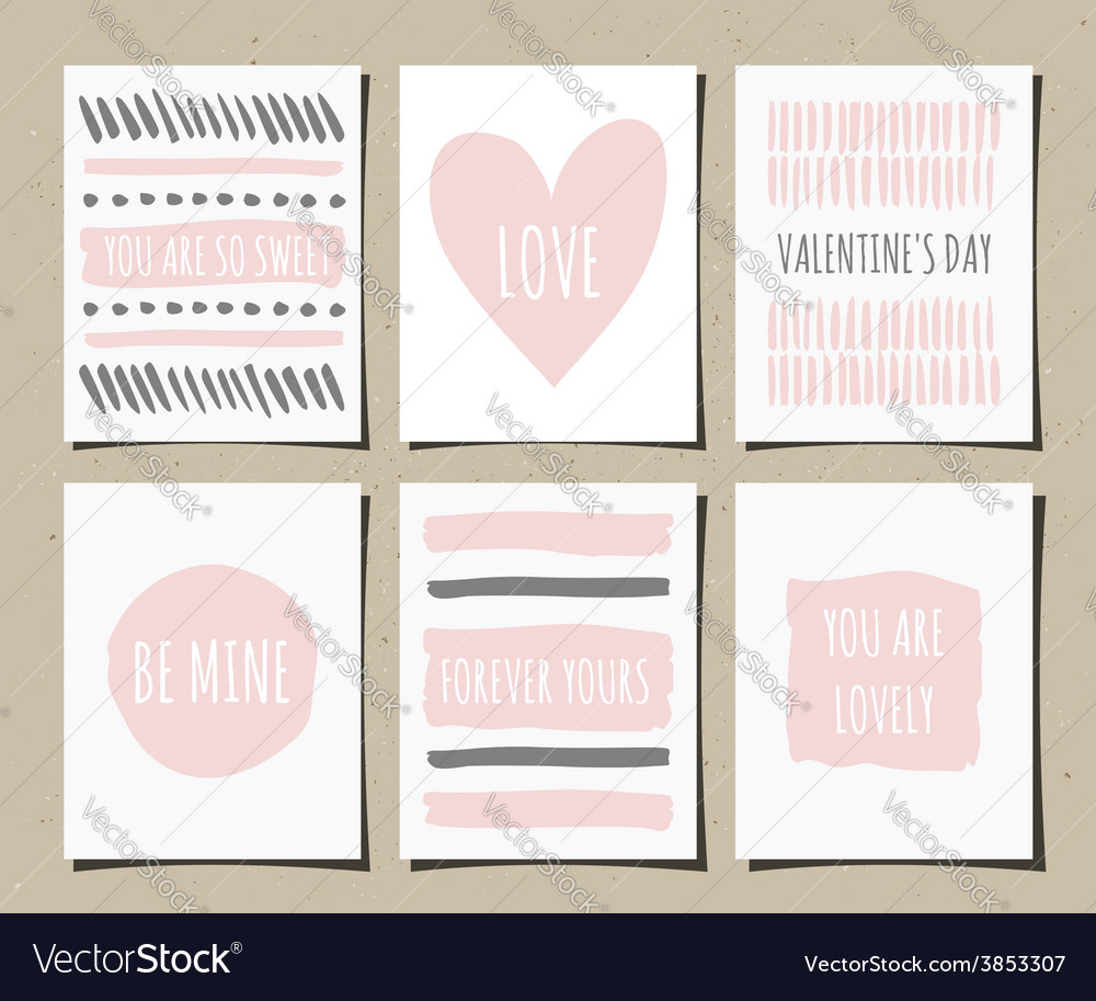 Hand drawn valentines day greeting cards set vector | Price: 1 Credit (USD $1)