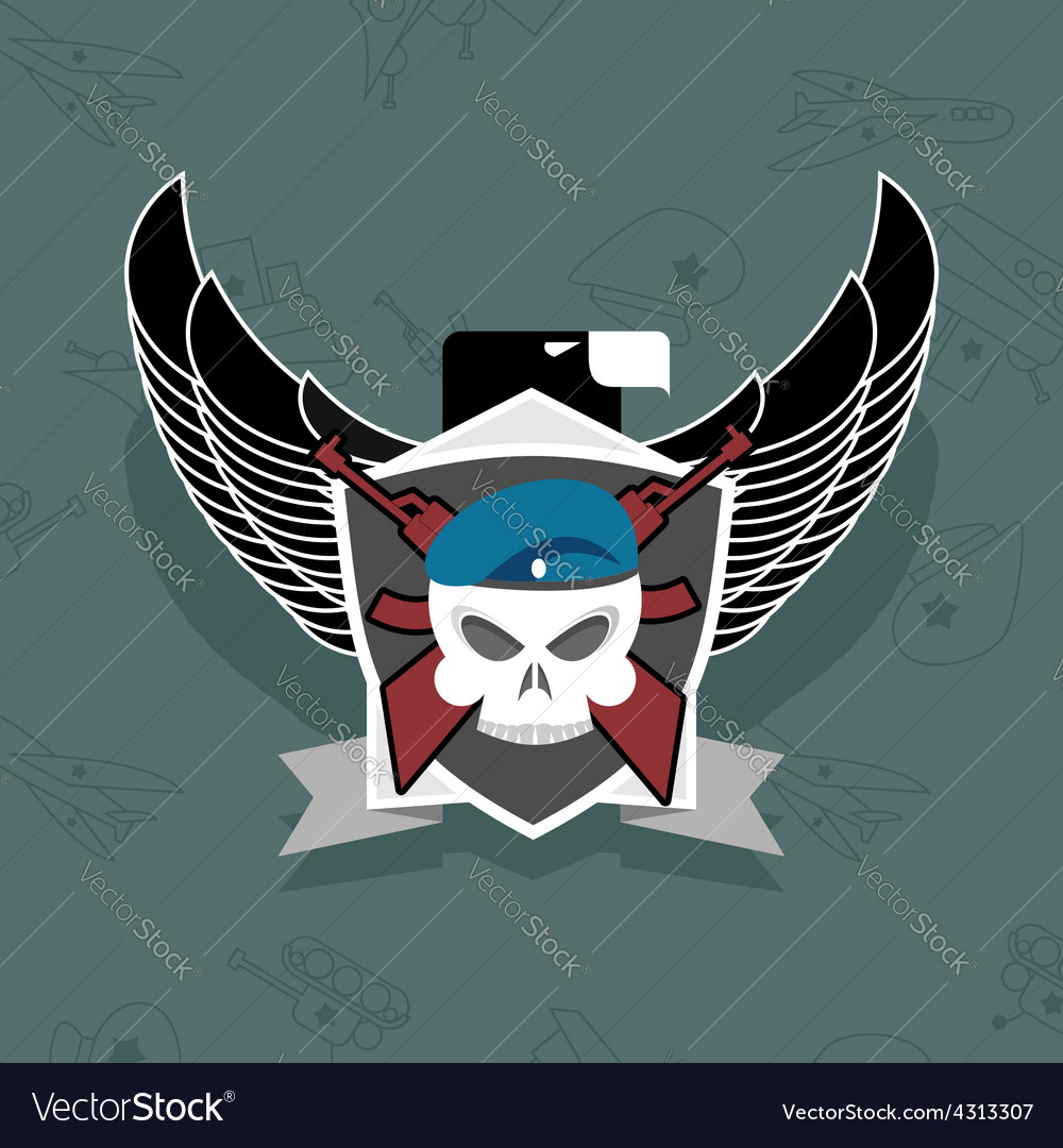 Military logo skull with wings on the shield vector | Price: 1 Credit (USD $1)