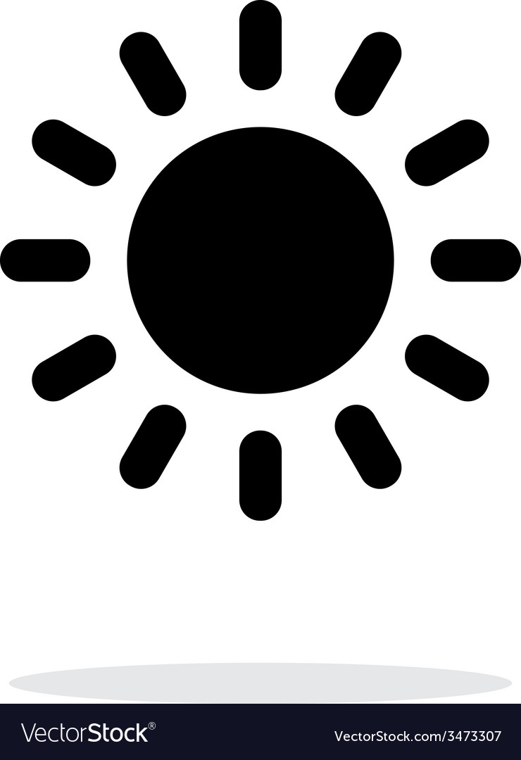Sun weather icon on white background vector | Price: 1 Credit (USD $1)