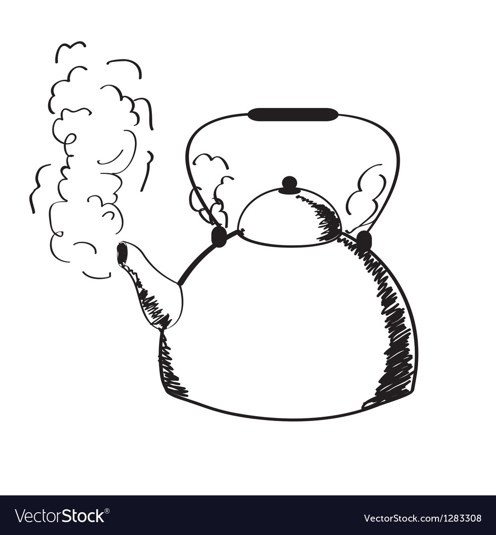 A boiling kettle and steam vector | Price: 1 Credit (USD $1)
