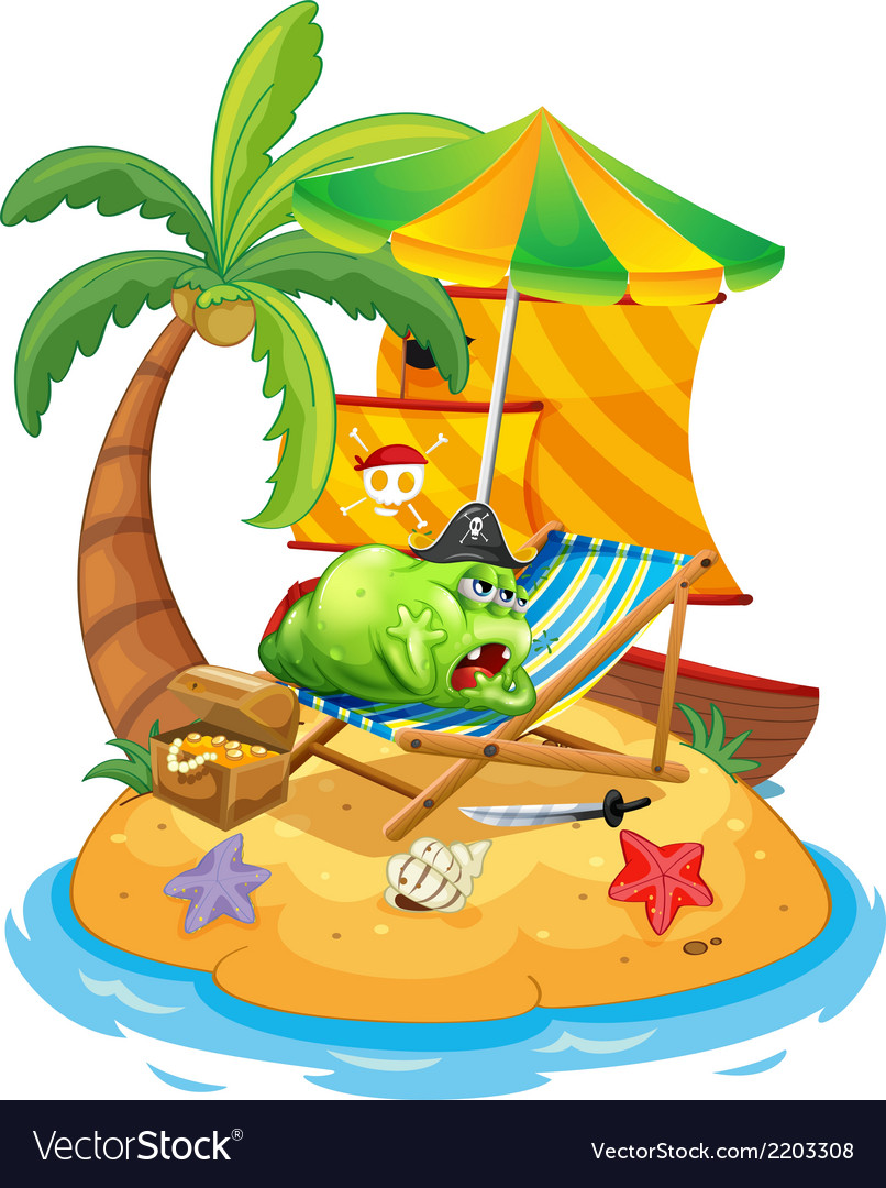A fat monster relaxing at the beach vector | Price: 3 Credit (USD $3)