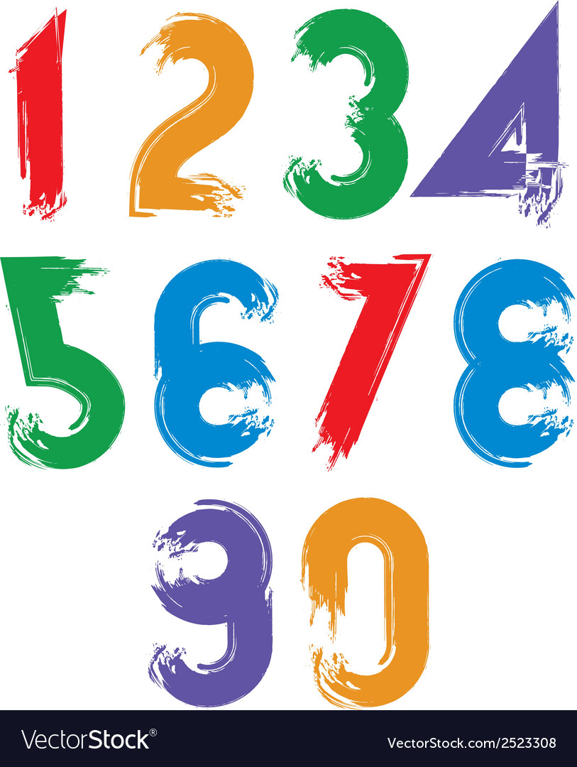 Calligraphic brush numbers hand-painted bright vector | Price: 1 Credit (USD $1)