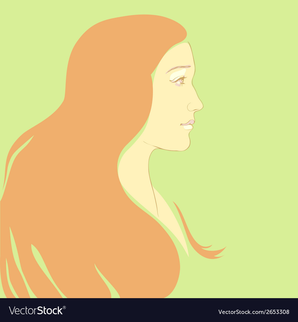 Girl with long hair cartoon vector | Price: 1 Credit (USD $1)