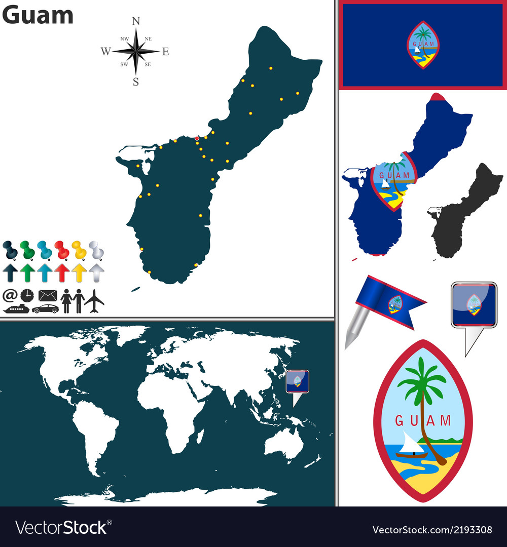 Guam map world vector | Price: 1 Credit (USD $1)