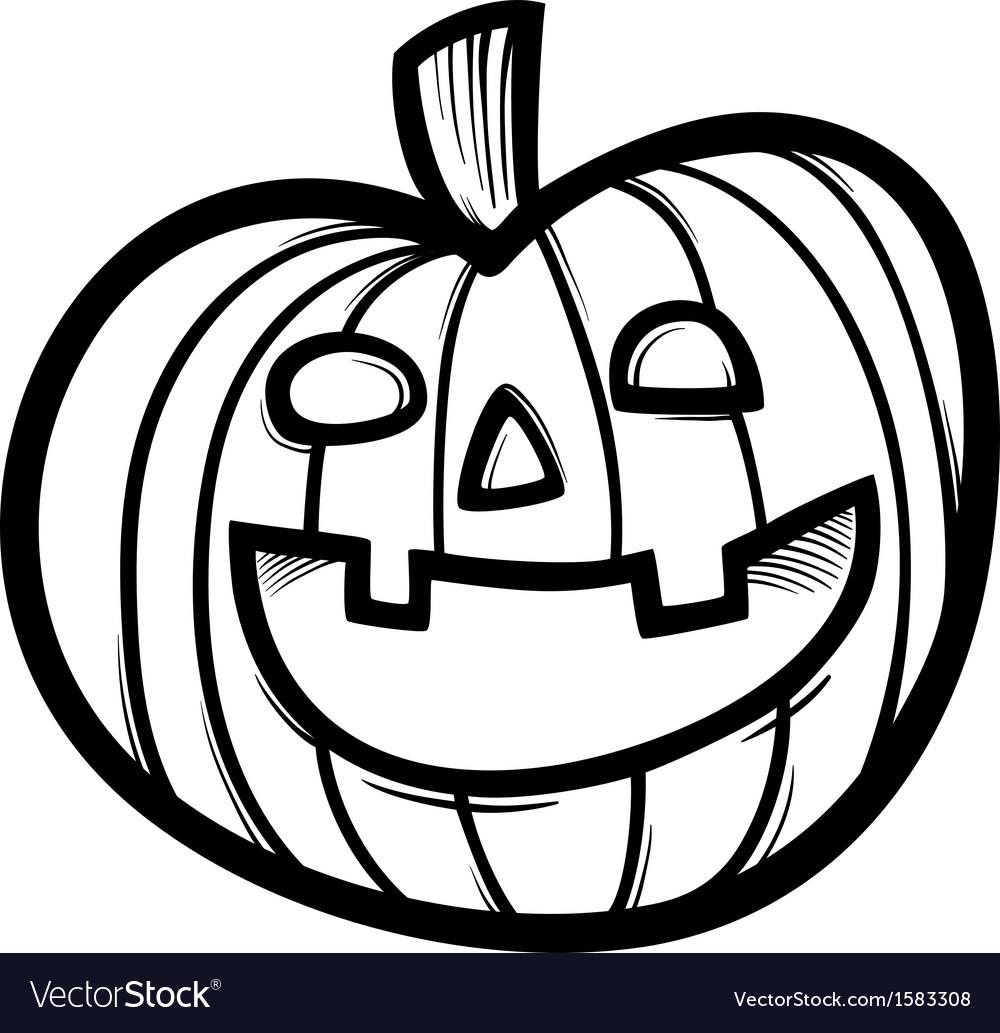Halloween pumpkin cartoon for coloring vector | Price: 1 Credit (USD $1)