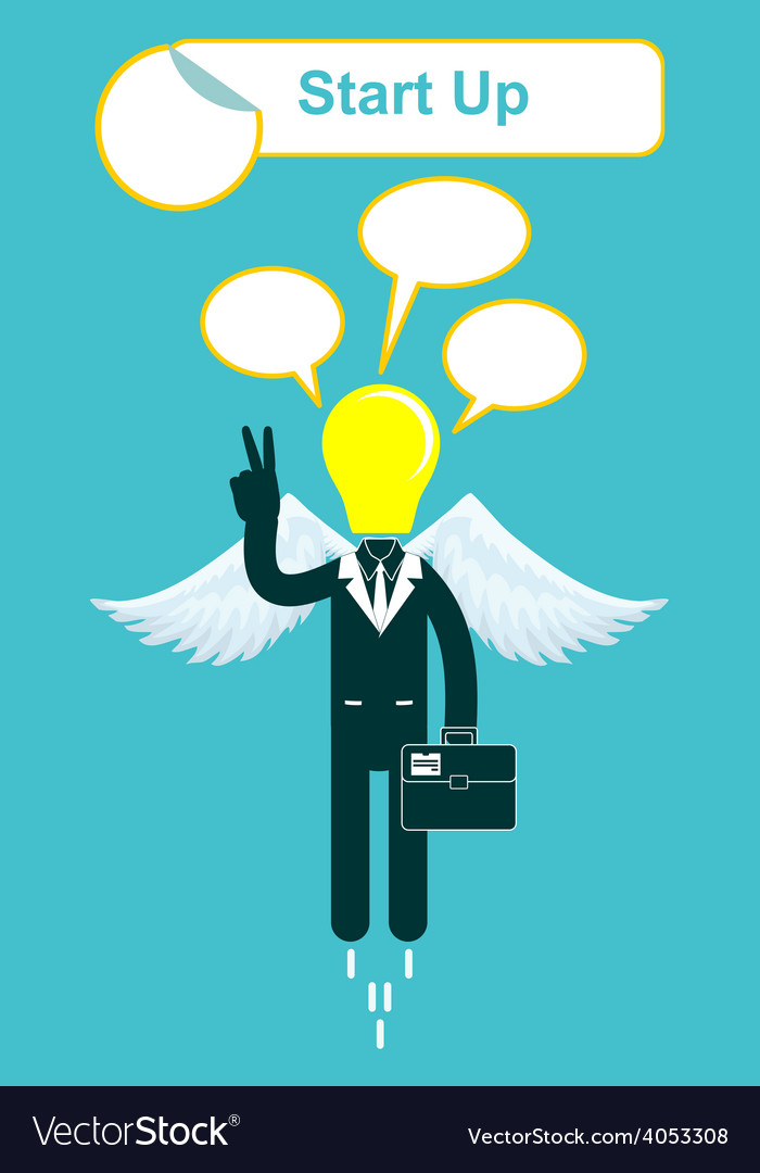 Happy lamp head businessman with victory vector   Price: 1 Credit (USD $1)