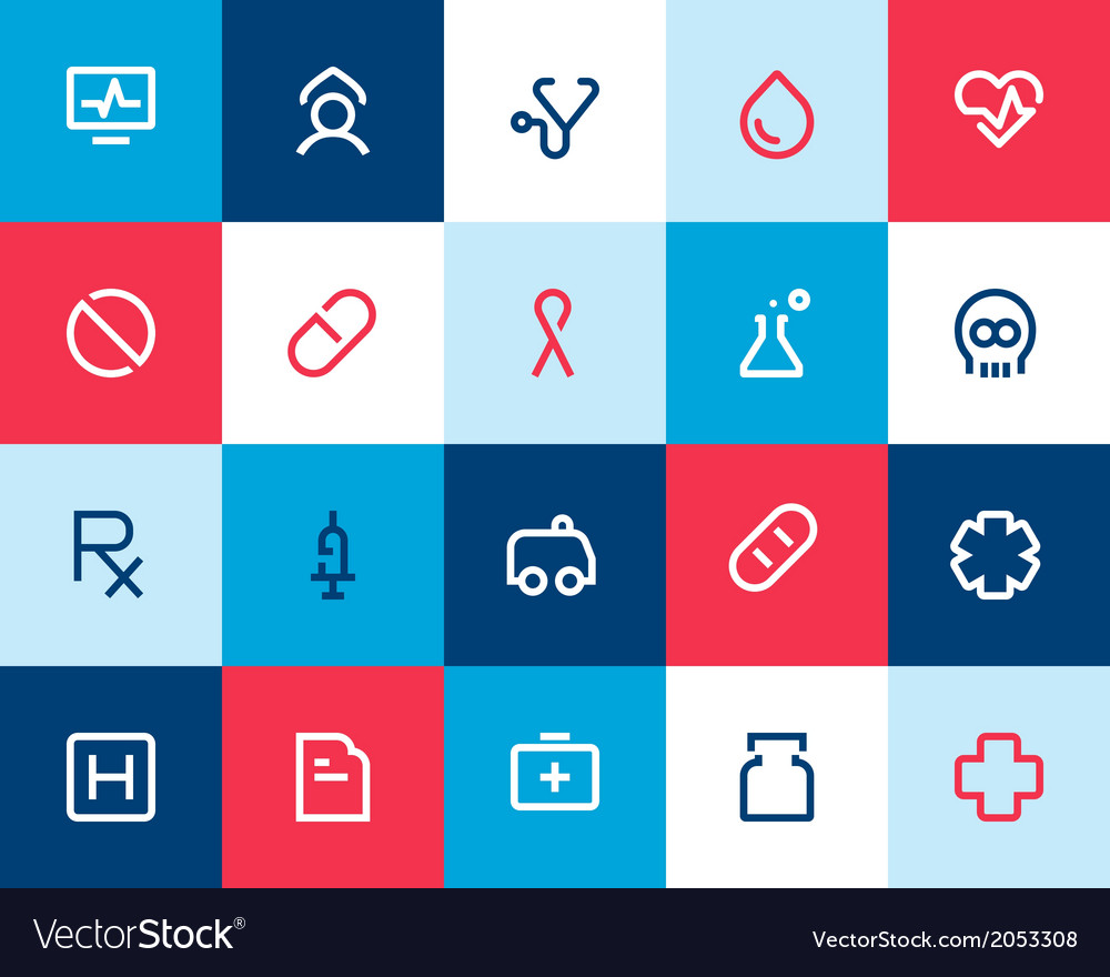 Medical and healthcare icons flat vector | Price: 1 Credit (USD $1)