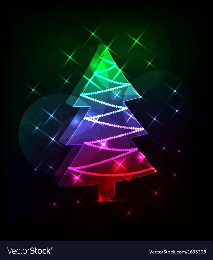 Neon christmas tree vector | Price: 1 Credit (USD $1)