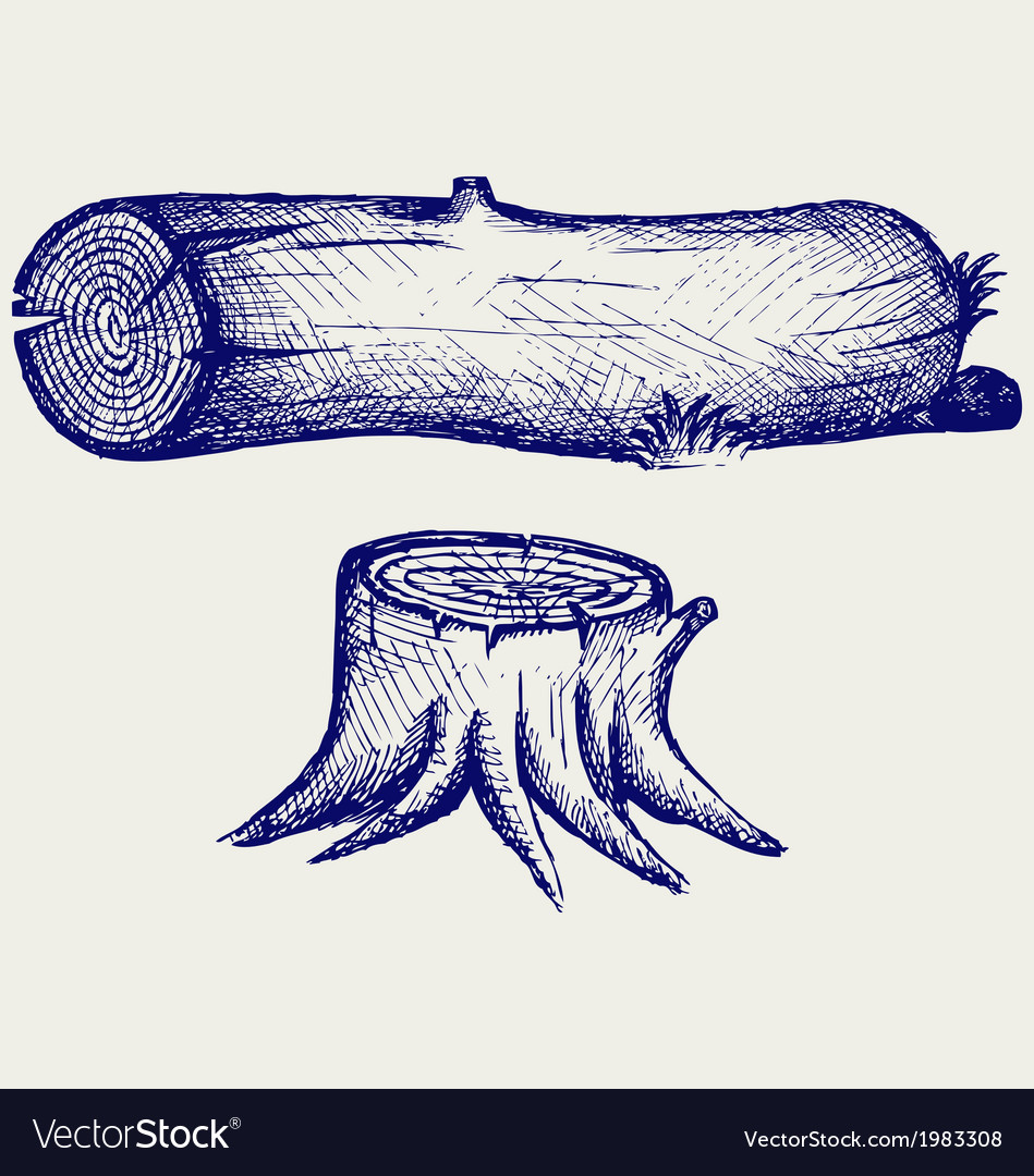 Old tree stump and log vector | Price: 1 Credit (USD $1)