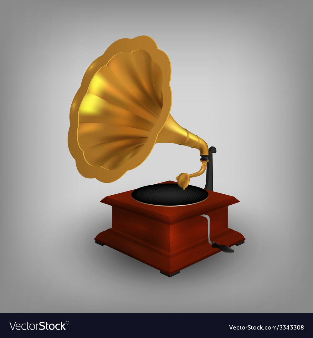 Retro old gramophone with horn vector | Price: 3 Credit (USD $3)