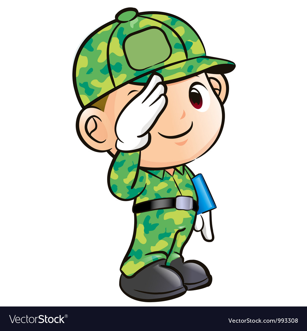 Salute to the soldier character vector | Price: 3 Credit (USD $3)