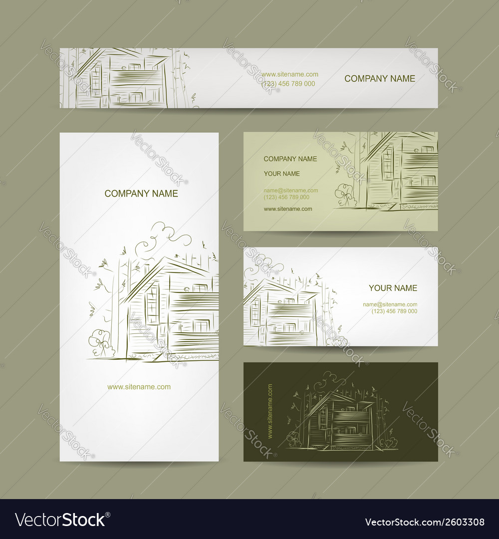 Set of business cards design with country house vector | Price: 1 Credit (USD $1)