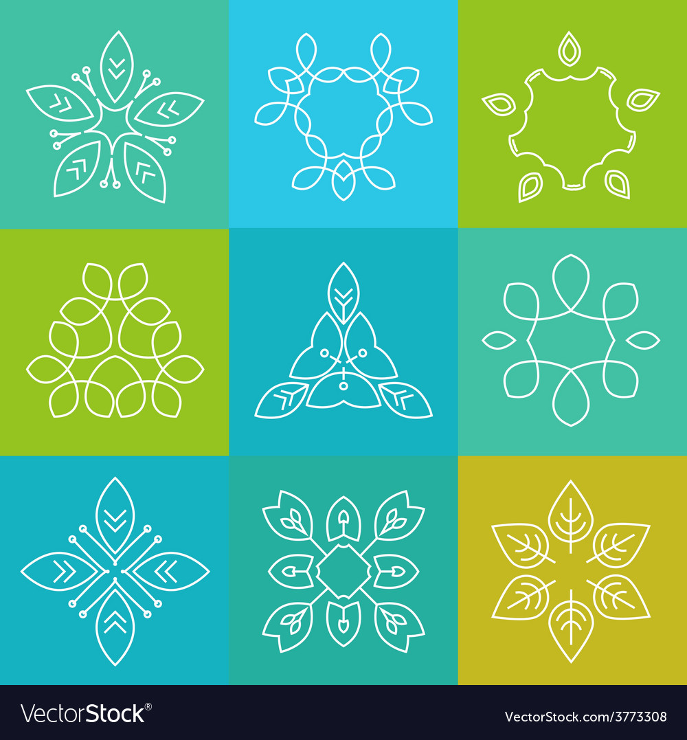 Set of elegant lineart logo design elements vector | Price: 1 Credit (USD $1)