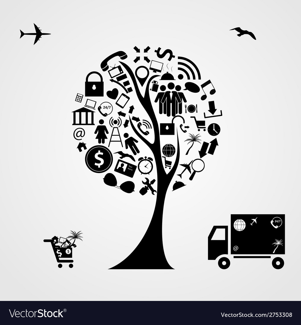 Tree of social media concept vector | Price: 1 Credit (USD $1)