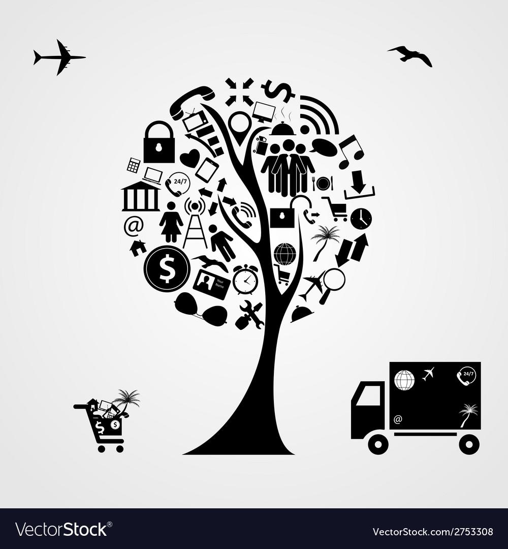 Tree of social media concept vector | Price: 1 Credit (USD $1)