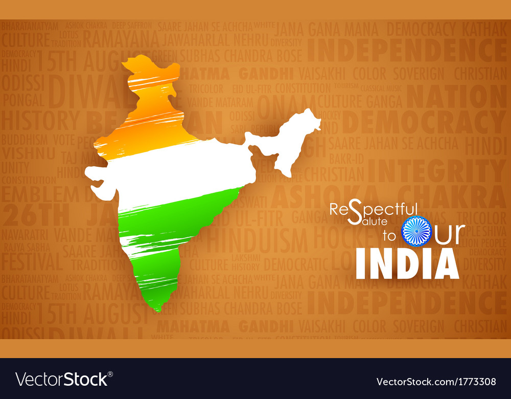 Tricolor indin map vector | Price: 1 Credit (USD $1)