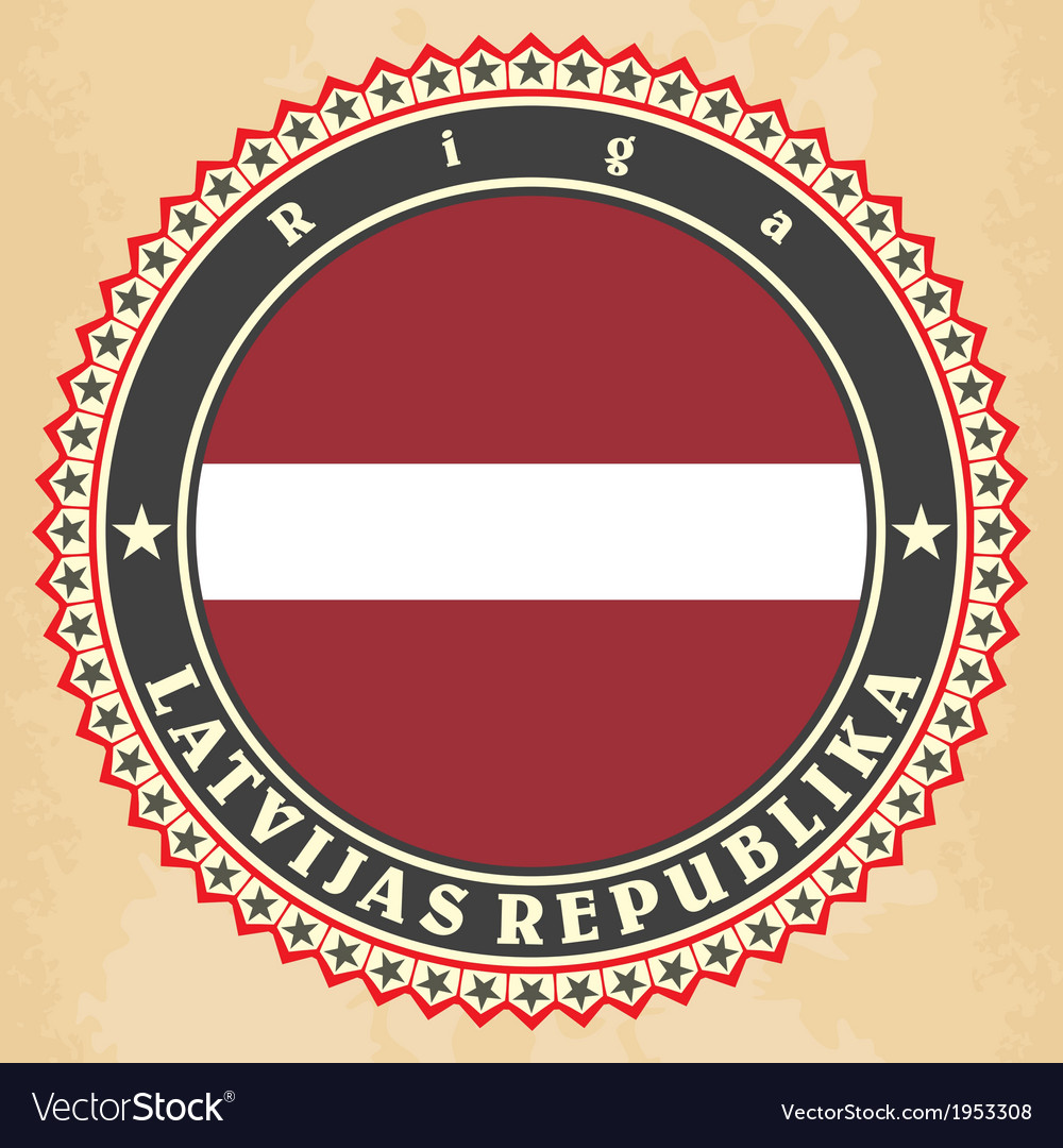 Vintage label cards of latvia flag vector | Price: 1 Credit (USD $1)