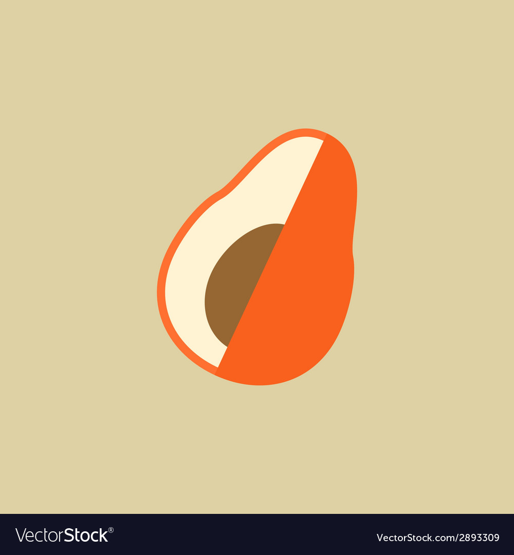 Avocado food flat icon vector | Price: 1 Credit (USD $1)