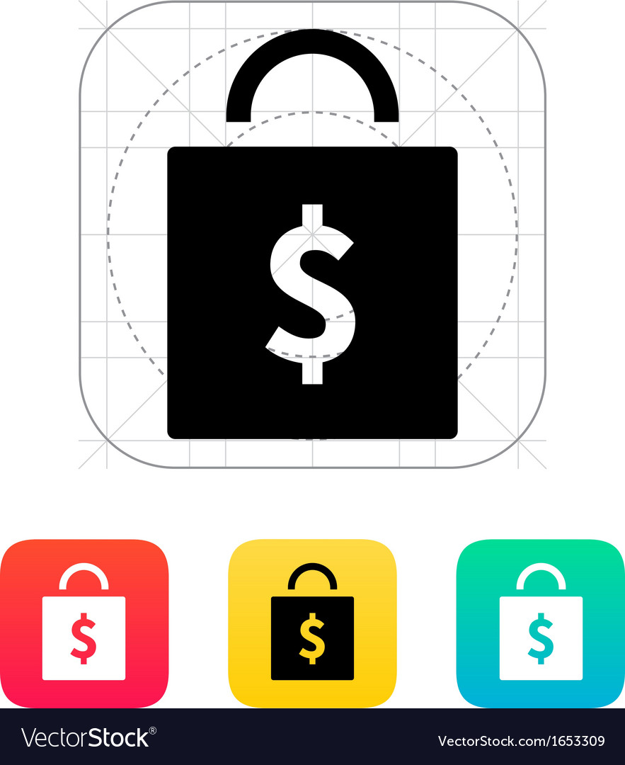 Bag with price icon vector   Price: 1 Credit (USD $1)