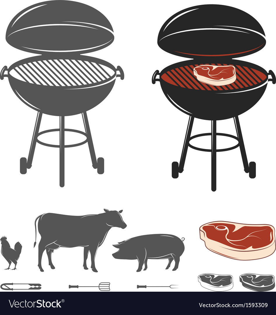 Barbecue elements set vector | Price: 1 Credit (USD $1)