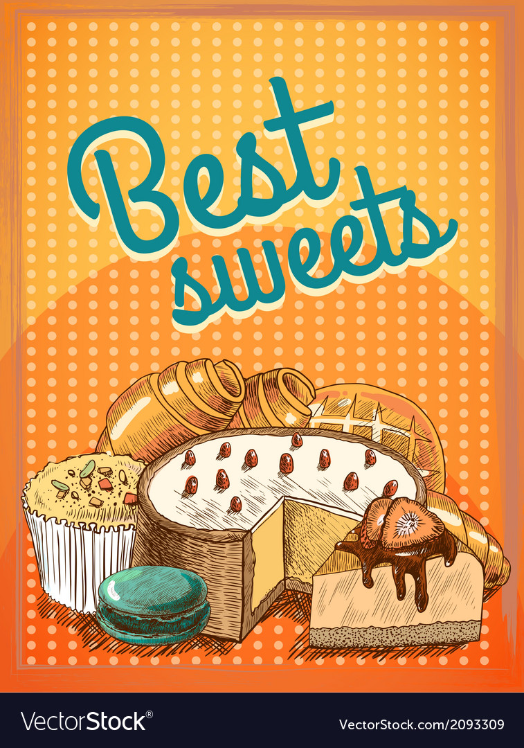 Best sweets pastry poster vector | Price: 1 Credit (USD $1)