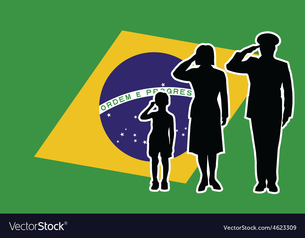 Brasil soldier family salute vector | Price: 1 Credit (USD $1)