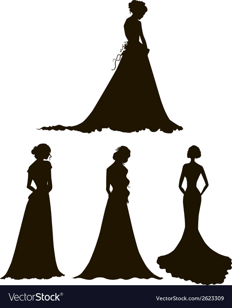Brides young women in long dresses silhouettes vector | Price: 1 Credit (USD $1)