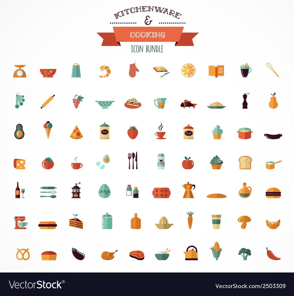 Cooking backing flat icons kitchenware elements vector | Price: 1 Credit (USD $1)
