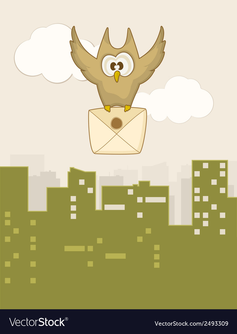 Cute flying owl vector | Price: 1 Credit (USD $1)