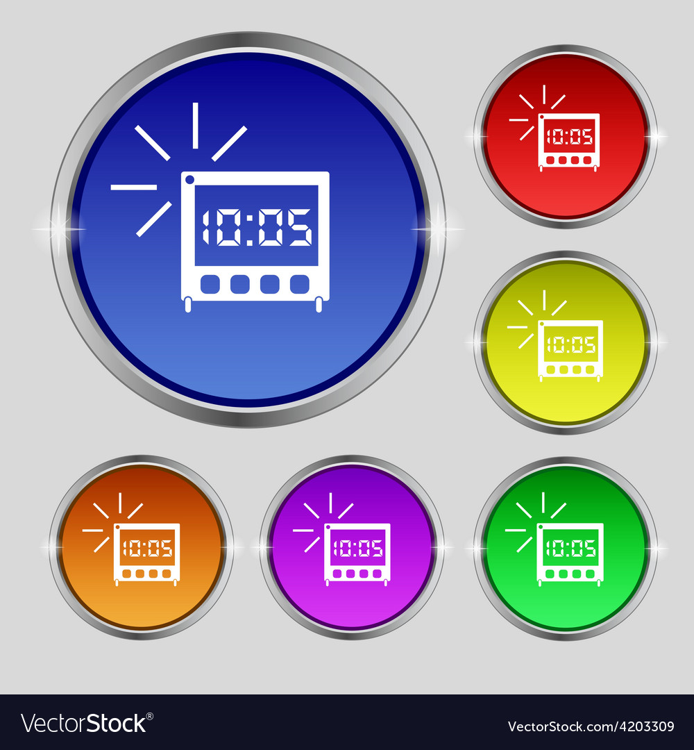 Digital alarm clock icon sign round symbol on vector | Price: 1 Credit (USD $1)
