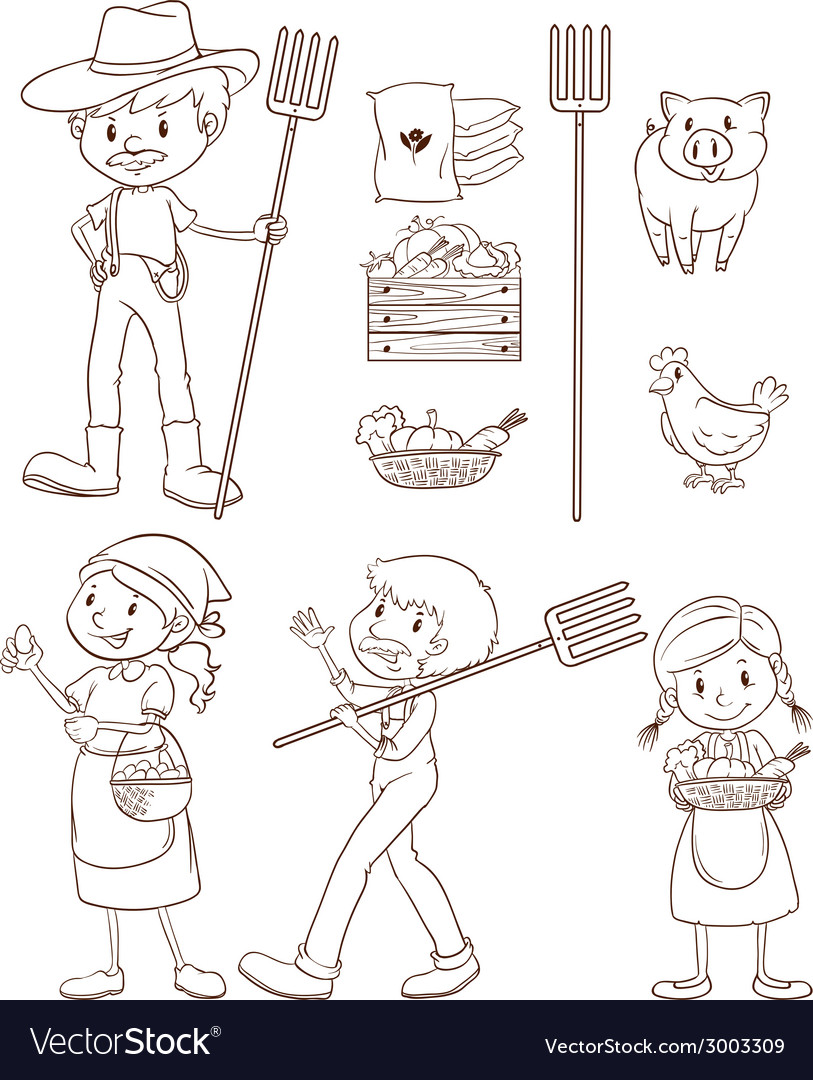 Farmers and animals vector | Price: 1 Credit (USD $1)