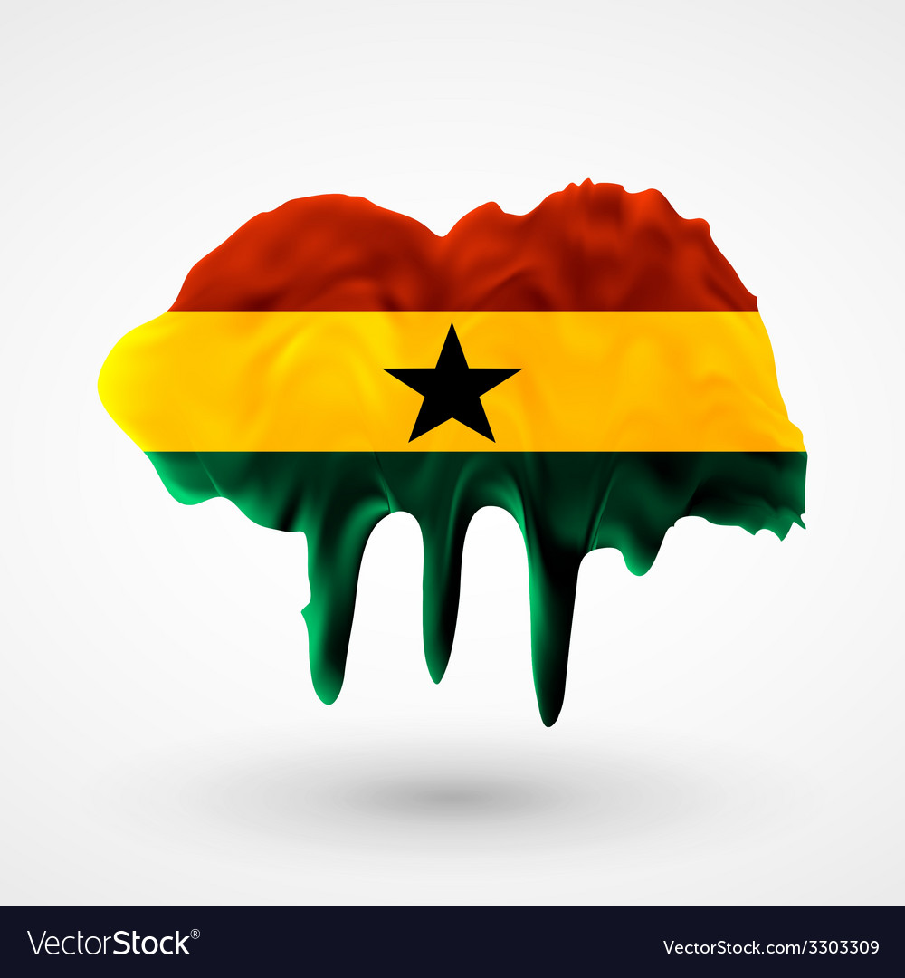 Flag of ghana painted colors vector | Price: 1 Credit (USD $1)