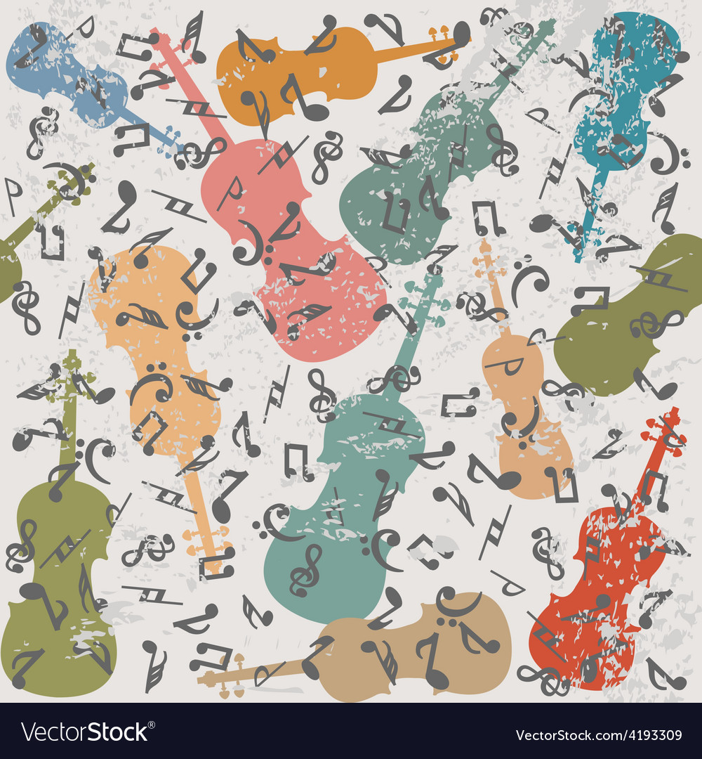 Grunge vintage background with violins and musical vector | Price: 1 Credit (USD $1)
