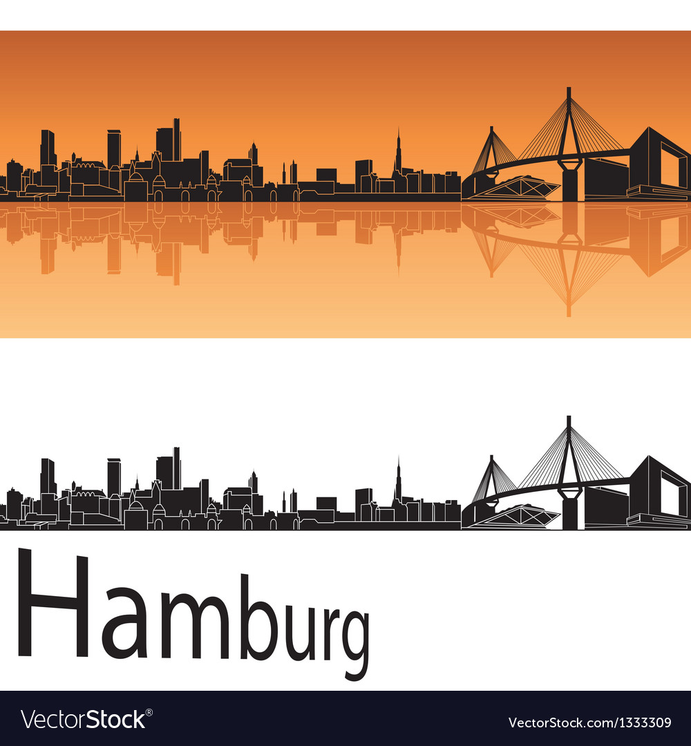 Hamburg skyline in orange background vector