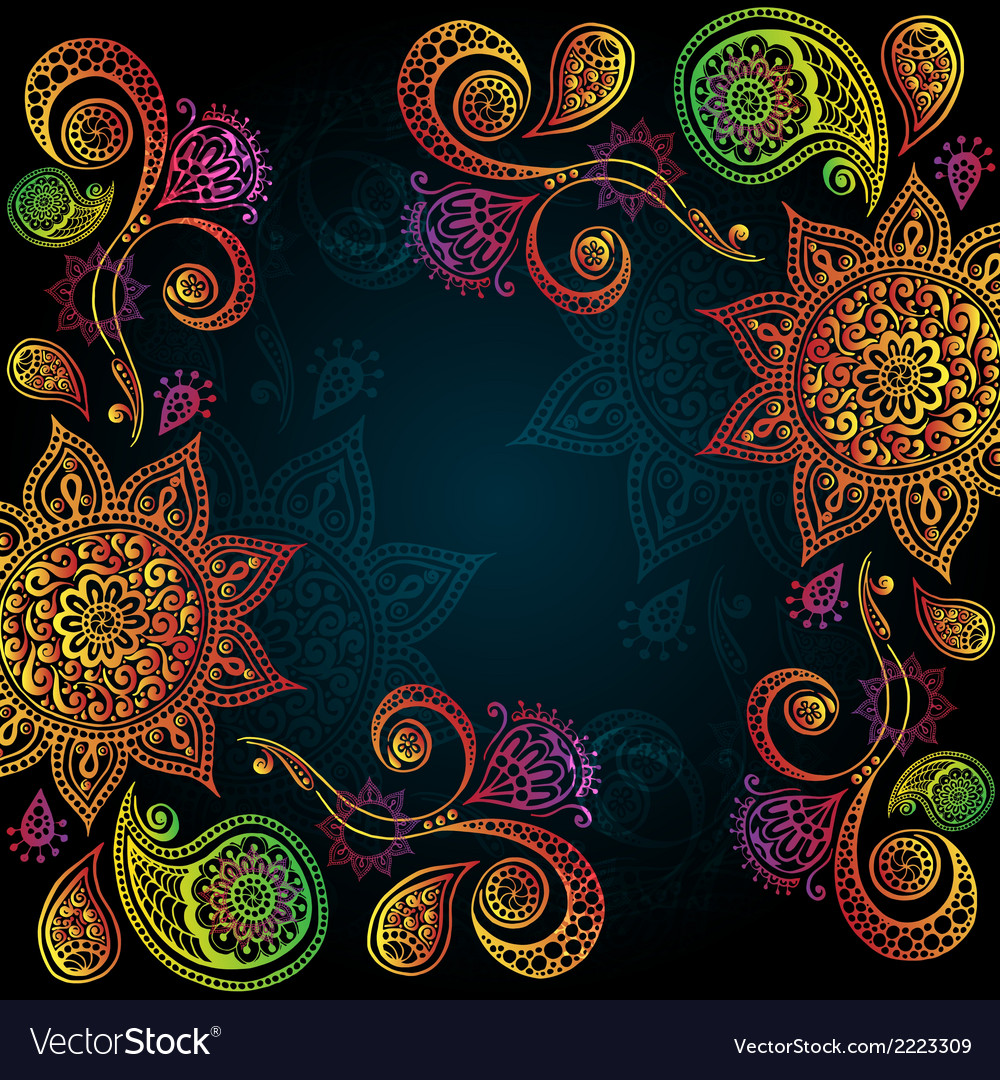 Indigo vintage background with indian ornament vector | Price: 1 Credit (USD $1)