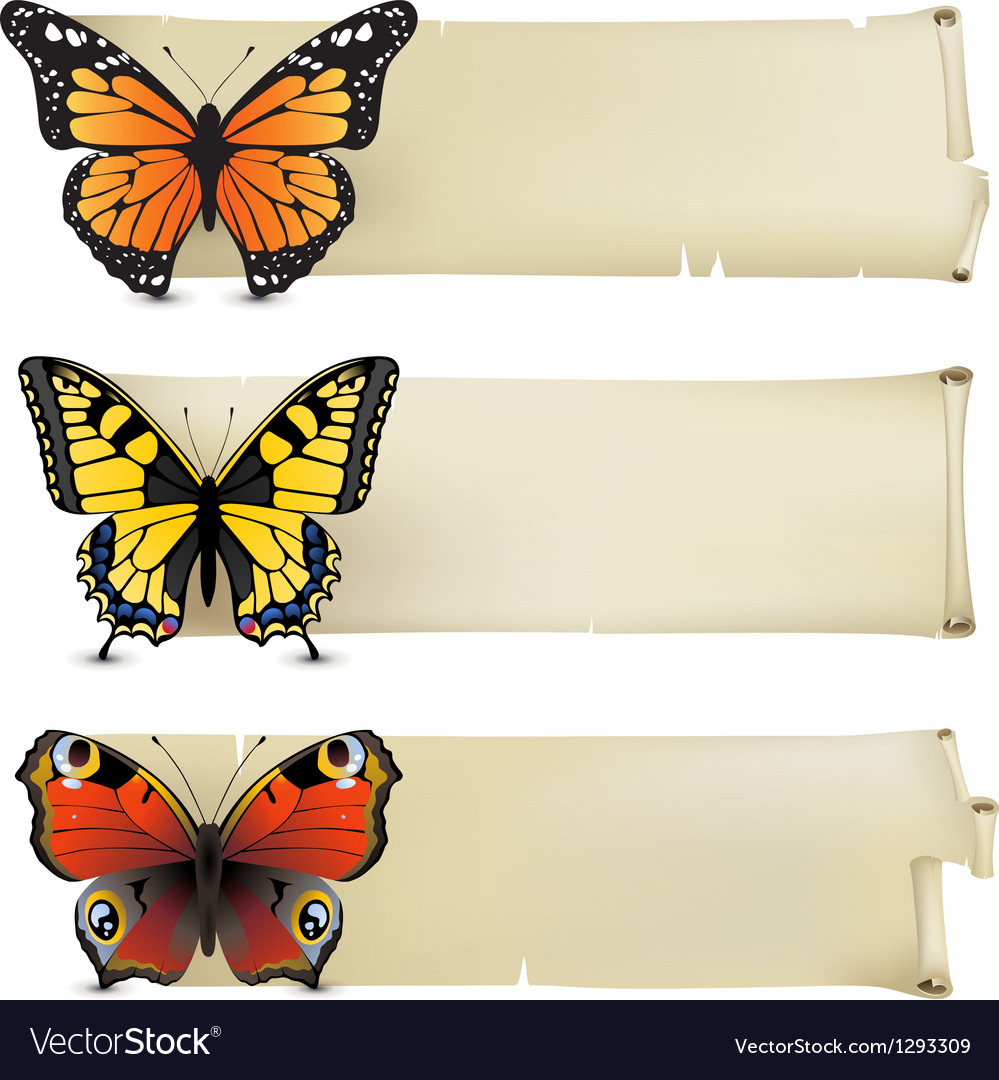 Retro butterfly banners1 vector | Price: 1 Credit (USD $1)