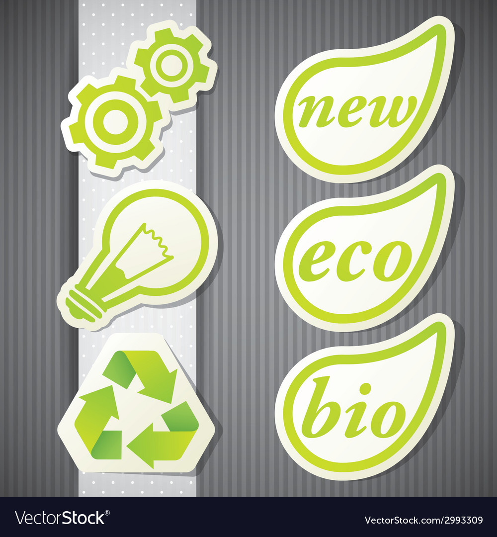 Set of eco labels green icons vector | Price: 1 Credit (USD $1)
