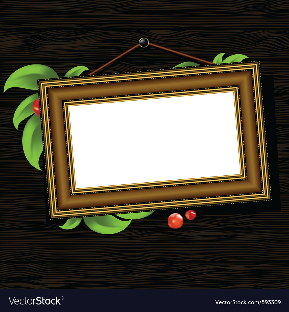 Vintage baguette frame with leaves vector | Price: 1 Credit (USD $1)
