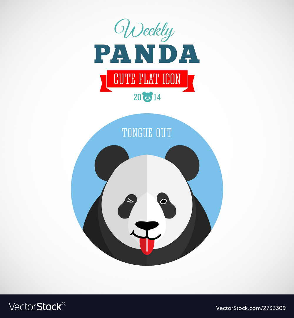 Weekly panda cute flat animal icon - tongue out vector | Price: 1 Credit (USD $1)